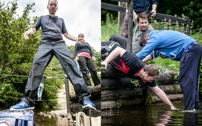 A split image of men partaking in the Wet and Wild Challenge