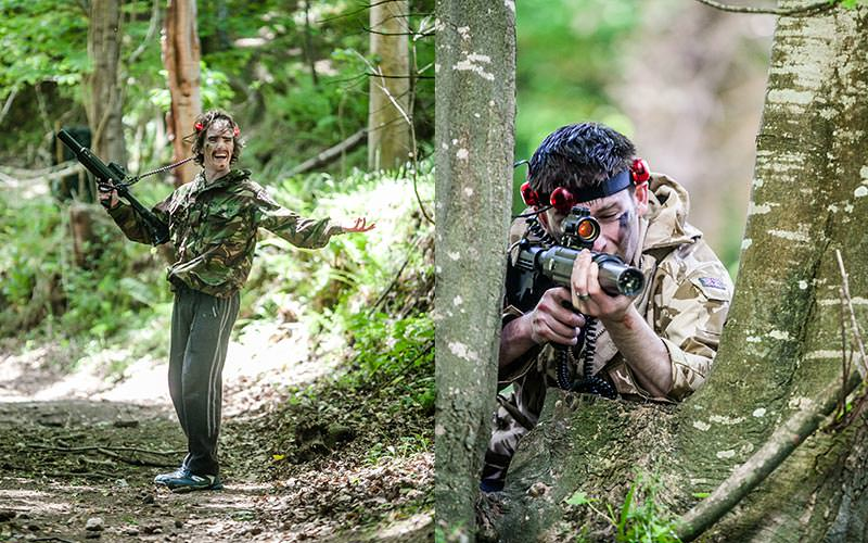 A split image of two men playing outdoor laser tag