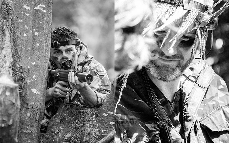 Two black and white images of people playing outdoor laser tag
