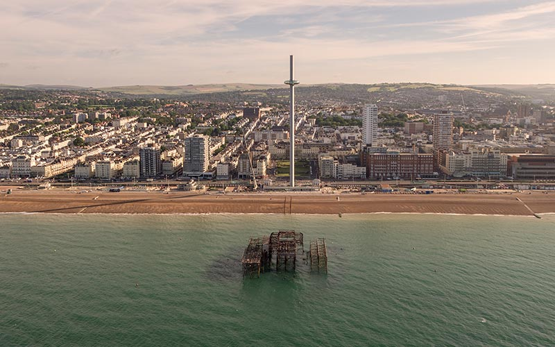 British Airways i360 towering above the Brighton skyline