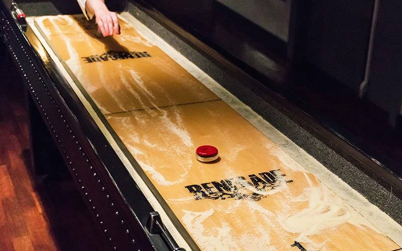 A shuffle board table