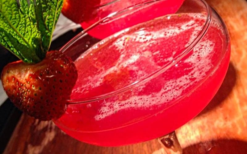 Close up on two red cocktails