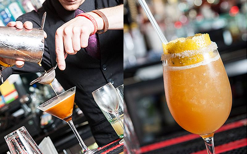 A split image of a man making a cocktail and an orange cocktail