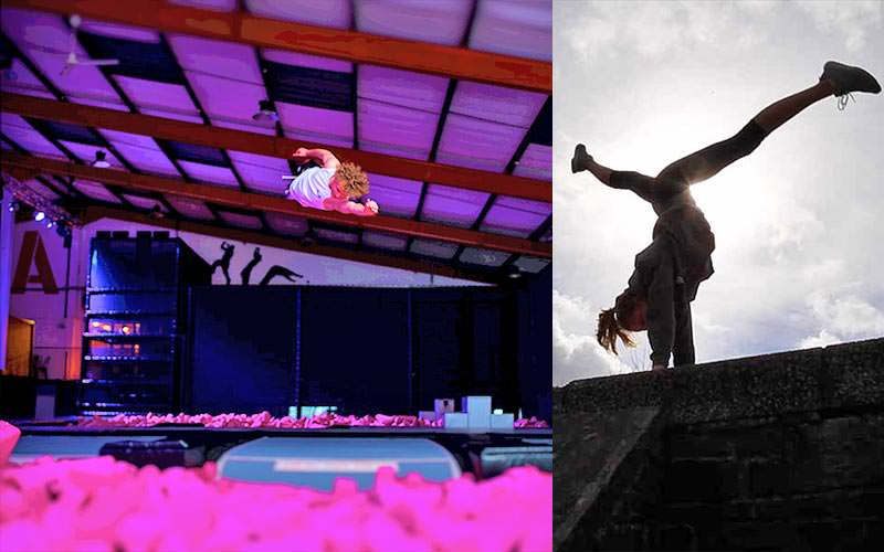 Split image of a man jumping over pink foam blocks and a woman doing a handstand on a wall