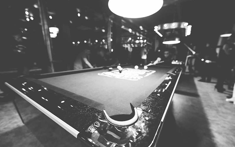 Black and white image of Felson's pool hall