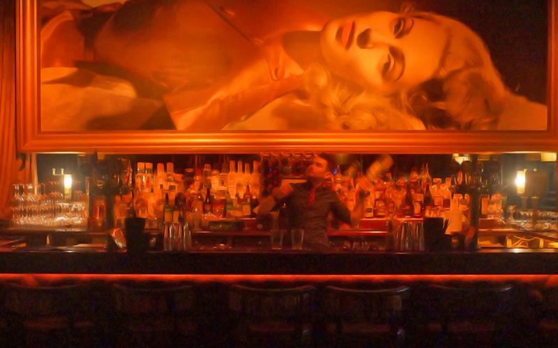 A painting of a woman lying down, behind a bar where a bartender is making a cocktail