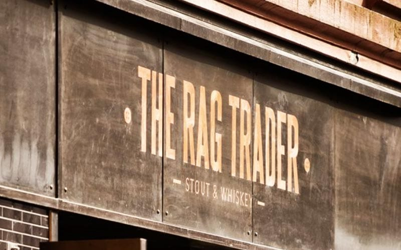 The exterior sign of The Rag Trader in Dublin