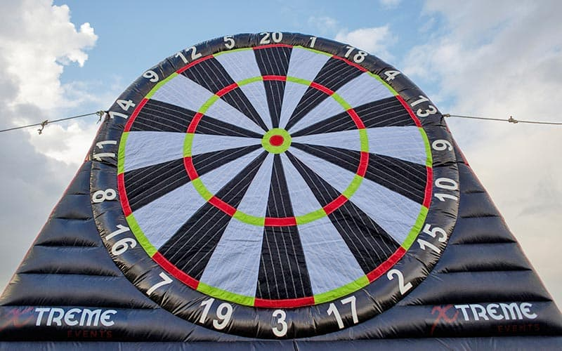 A large, inflated dart board