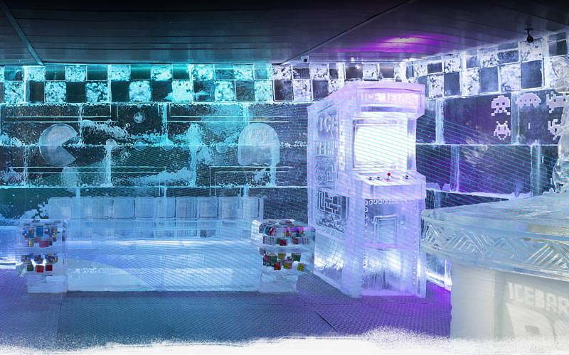 Image of inside icebarcelona a sofa arcade games made from ice