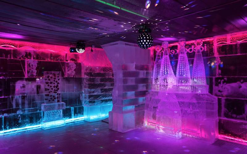 Image of some of the ice features inside the ice bar