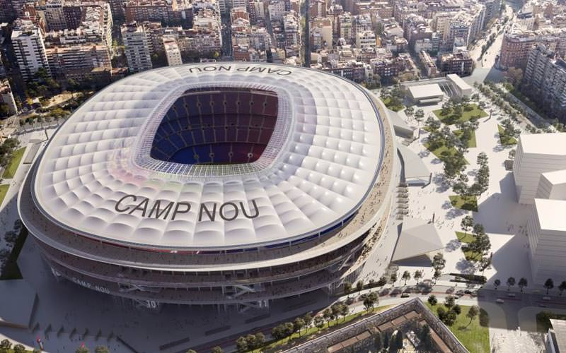 Image of a birdseye view of camp nou stadium