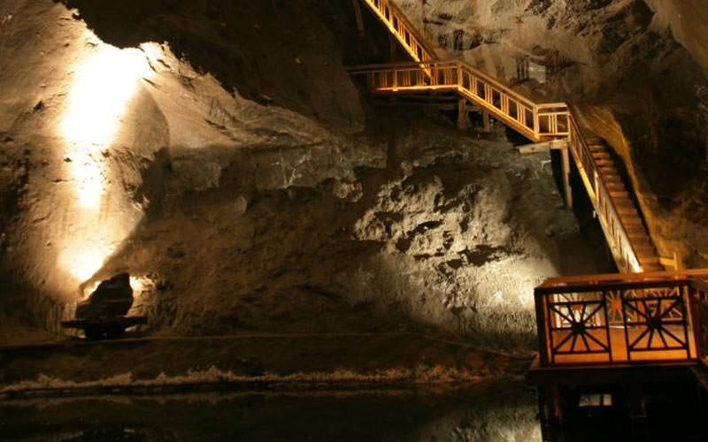 Image of a stairway leading up one of the walls inside the mine