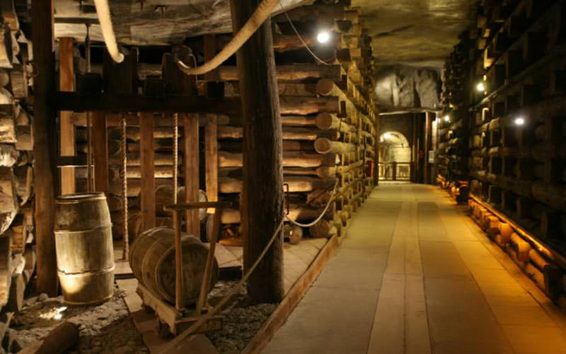Image of a area of the mine and all the walls made from wood