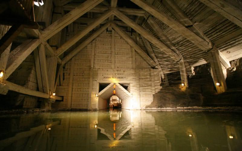 Image of inside the mine filled with water