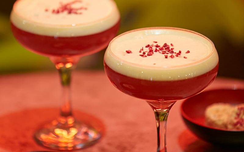 Two red French Martinis