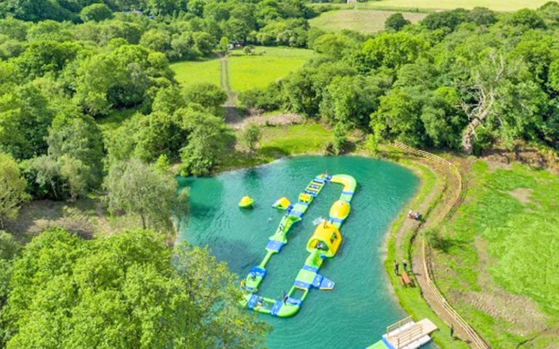 Bird's eye view of the Action Loop in the water at Dorset Waterpark