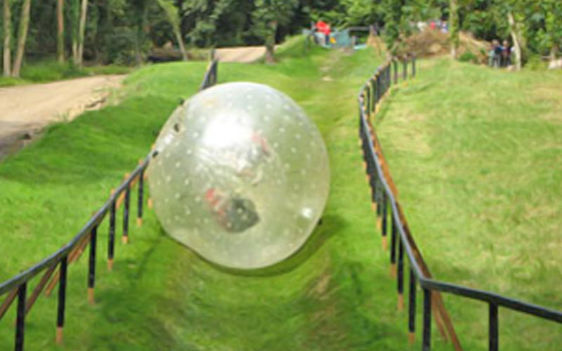 A zorb rolling down a hill