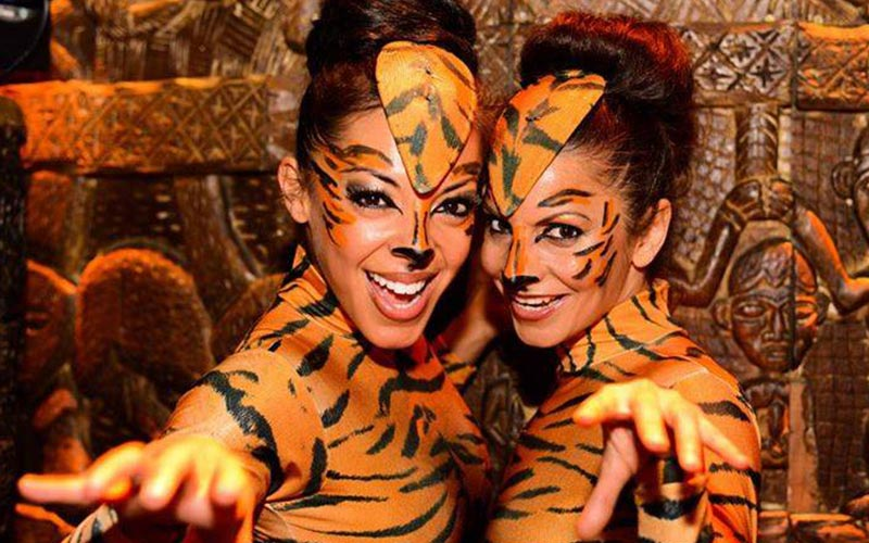 Two girls dressed as tigers in Shaka Zulu