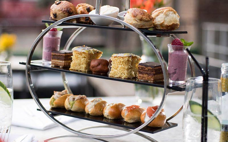 A three tiered afternoon tea