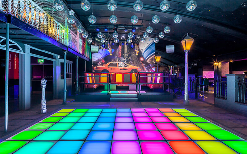 A view of a dance floor in a nightclub