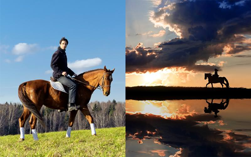 Split image of a man riding a horse in a field, and the silhouette of a woman riding a horse at sunset