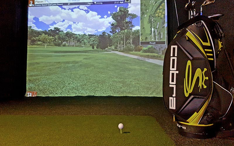 A golf bag full of clubs, in front of the golf simulator