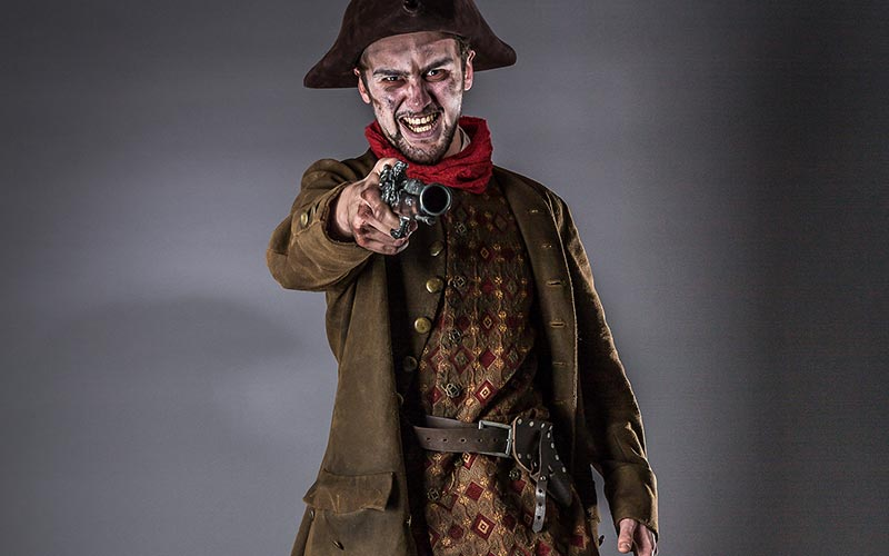 An actor dressed as Dick Turpin in the York Dungeons