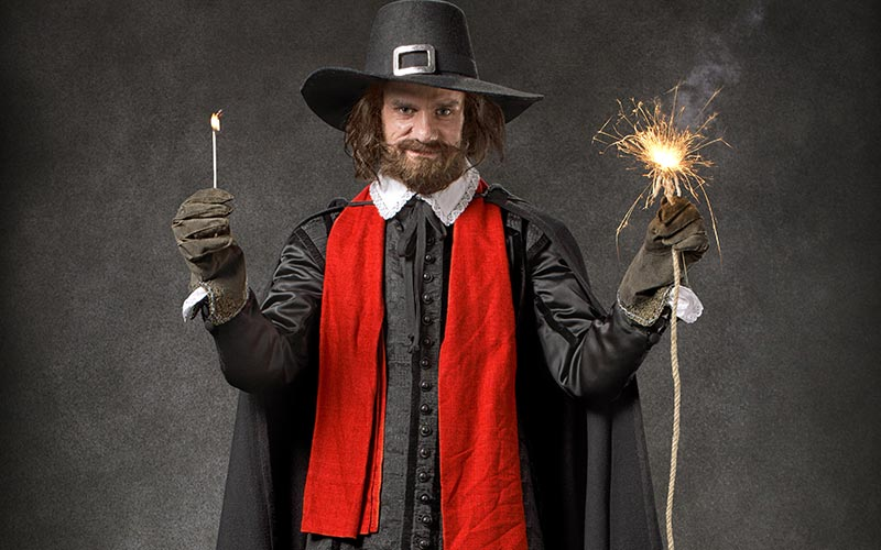 An actor dressed as Guy Fawkes in the York Dungeon
