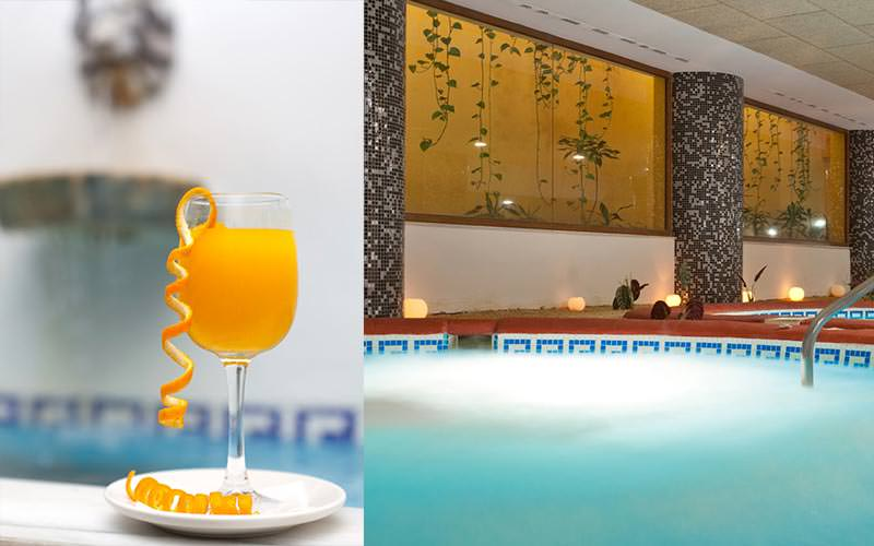 Split image of a glass of orange adorned with orange peel, and a close up of a Jacuzzi
