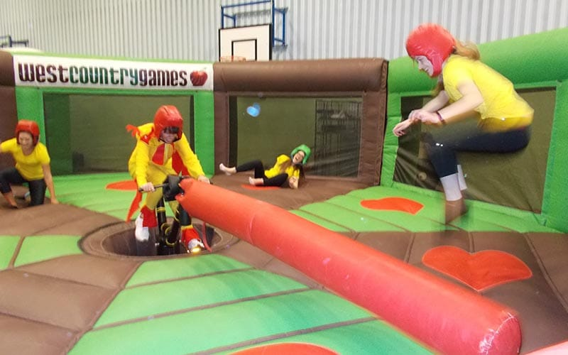 Some people on an inflatable game