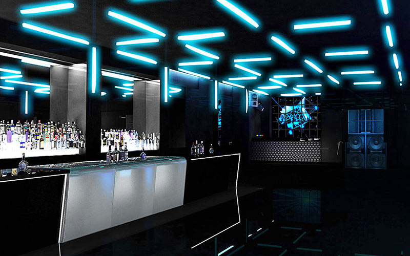 The bar area with funky lighting in Club INK