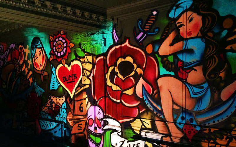 Some illuminated graffiti in Club INK