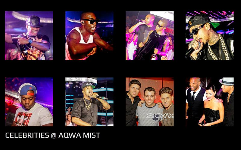 Tiled collage of celebrities at Aqwa Mist to a black backdrop