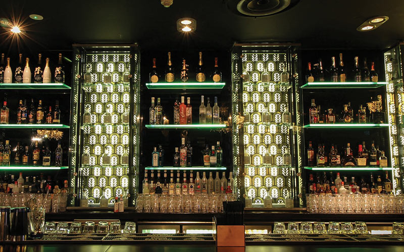 Lots of booze stacked up behind the bar in Newcastle's Perdu