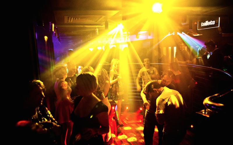 Bright lights n a dance floor