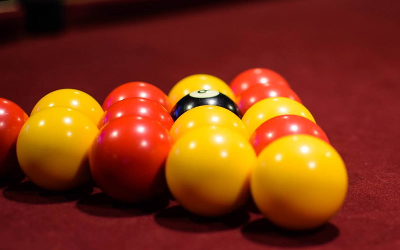 Some snooker balls lined up in Pacific House