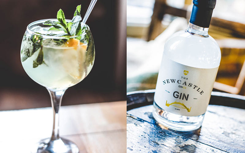 A split image of a glass of gin and a bottle of gin