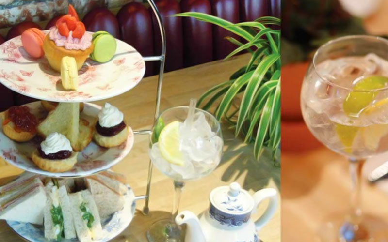 A split image of high tea and a glass of gin