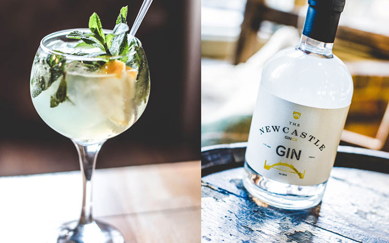 A split image of a gin and tonic and a bottle of gin