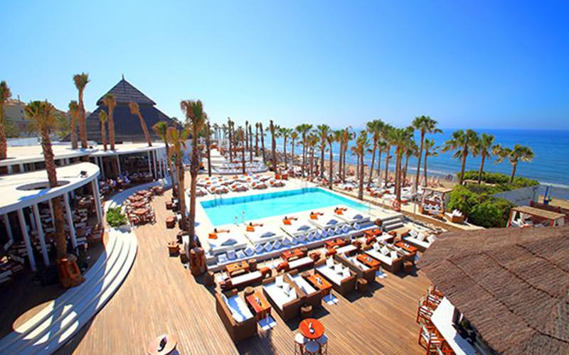 Bird's eye view of Nikki Beach during the day