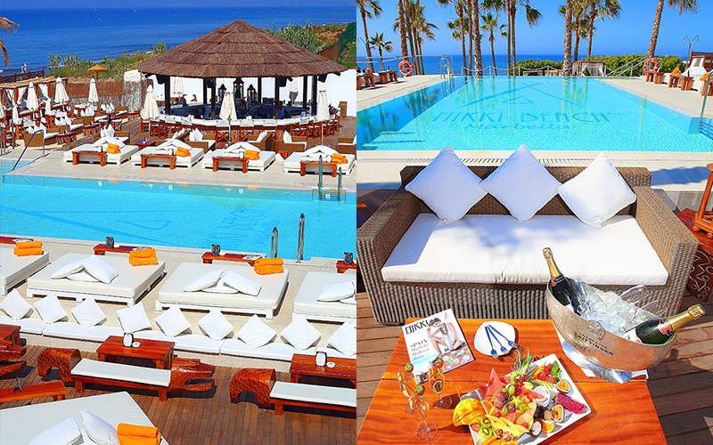 Split image of sunbeds and the pool at Nikki Beach, and a white sofa with food on the table and a pool in the background