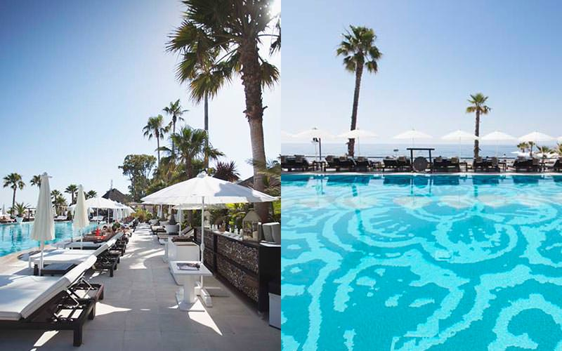 Split image of the pool at Puro Beach and white sun beds around the pool