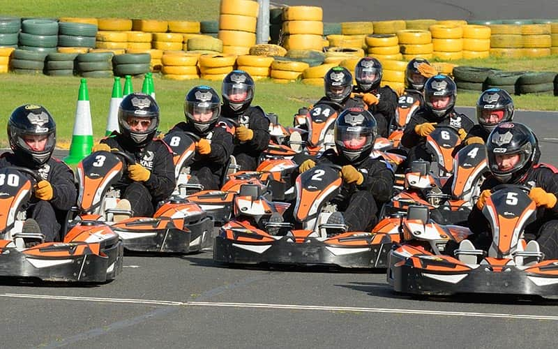 Lots of people ready to race in go karts