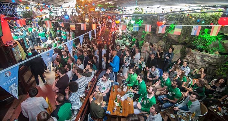The beer garden in Dtwo, packed full of people in Dublin