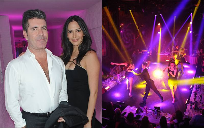 A split image of a woman with Simon Cowell, and some people performing on stage