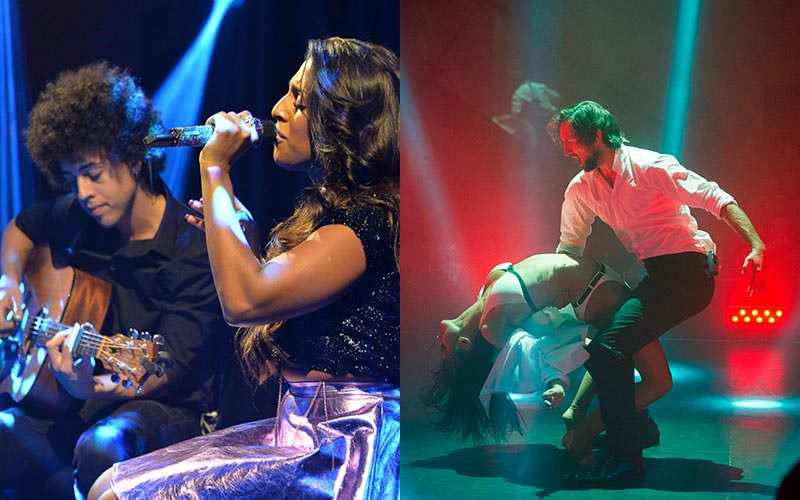 A split image of a woman singing and a man on a guitar, and two people dancing on stage