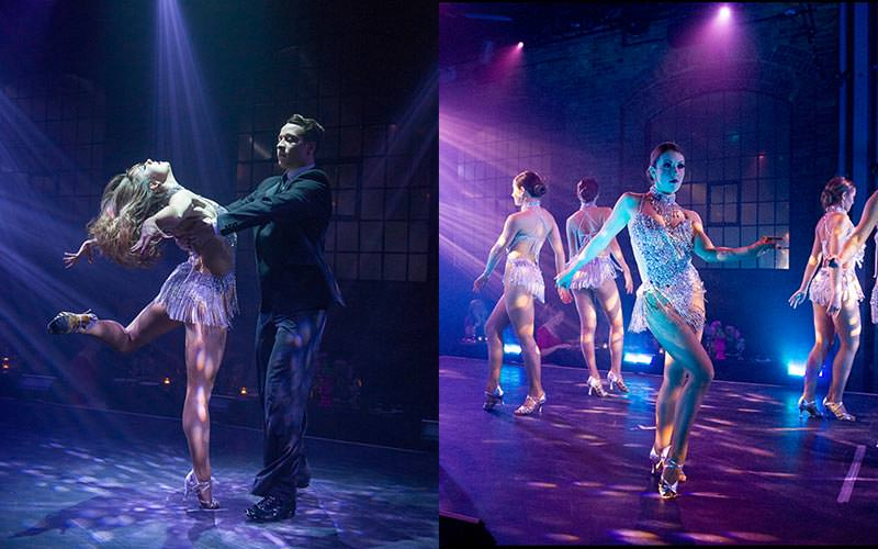A split image of a man and a woman dancing, and some women dancing on stage