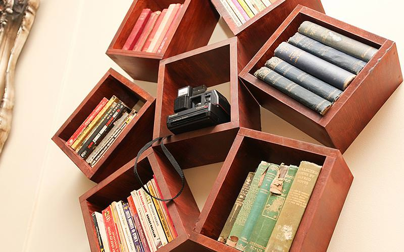 Brown, wooden shelves holding books and an old black camera