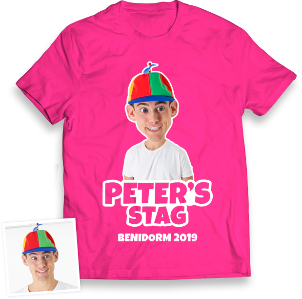 Stag Do Caricature from Photo T-shirt – Caricature, Text, Location on Pink T-shirt