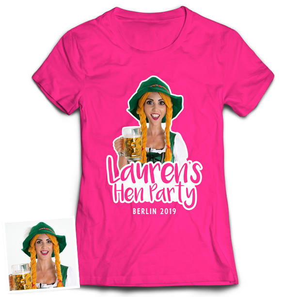 Hen Do Caricature from Photo T-shirt – Caricature, Text, Location on Pink T-shirt